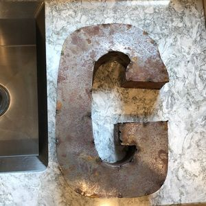 """Hand Crafted Accents - Sold Large handcrafted metal """"G"""""""